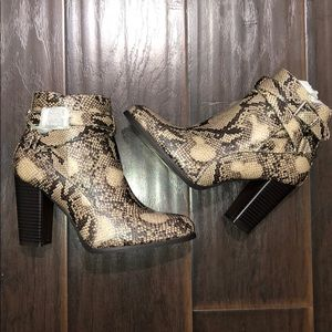 New snake print boots booties